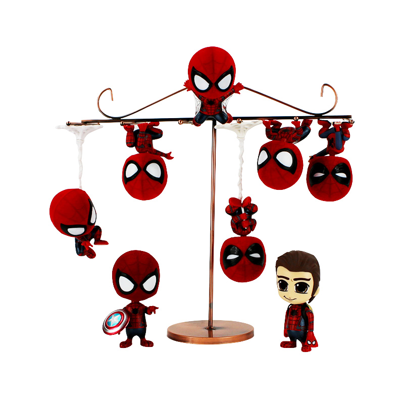 Anime Q version Super Hero Spiderman Amazing Spider Man Shaking head PVC Figures Collectible Model Toys ...