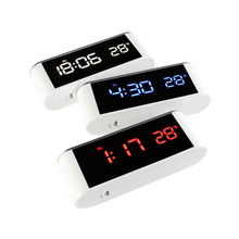 Digital Display LED Mirror Alarm Clock Luminous Unique Desktop Electronic Clock With Thermometer Backlight Luminova Desk Watch все цены