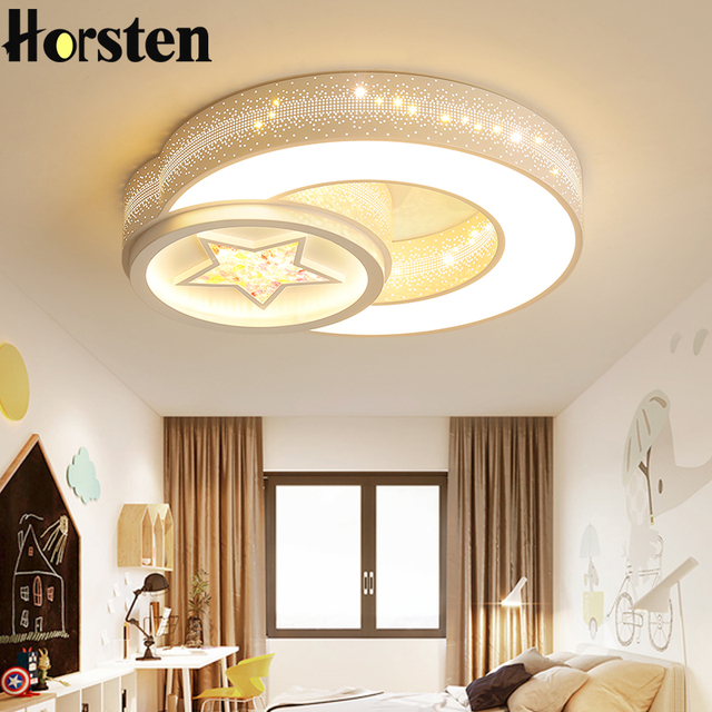 Nordic Modern Star And Moon Ceiling Lights Creative Acrylic Round Children Kids Baby Bedroom Room Lighting Simple Lamp