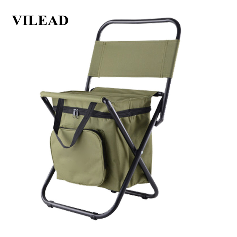 VILEAD Folding Portable Camping Cooler Chair Picnic Fishing Beach Hiking Outdoor Ultralight Seat Table Backpack Camping Stools-in Camping Chair from Sports & Entertainment