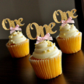 Custom Bow Colors&Gold/Silver Black Glitter ONE Cupcake Toppers Picks,Baby Shower/Kids First Birthday Party Favors Decoration