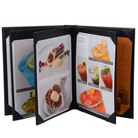 8 Pages Restaurant Menu Covers A4 Size Menu Holders Wine List Folder PU Leather Menu Folders