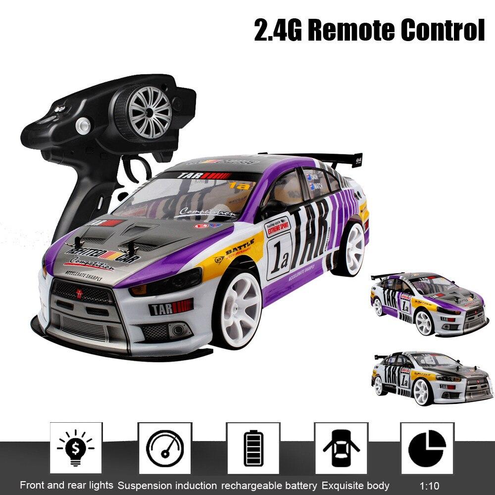 Voiture radiocommandée LED 1:10 70 km/h RC voiture 4WD Double batterie haute puissance phare LED dérive voiture de course modèle jouet électrique
