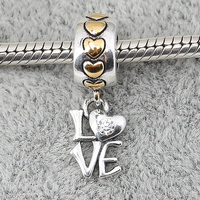 Sterling Silver Charms Pendant Beads Diy Love Heart Pendant For Original Pandora 925 Sterling Silver Bracelets Bangles XCY118
