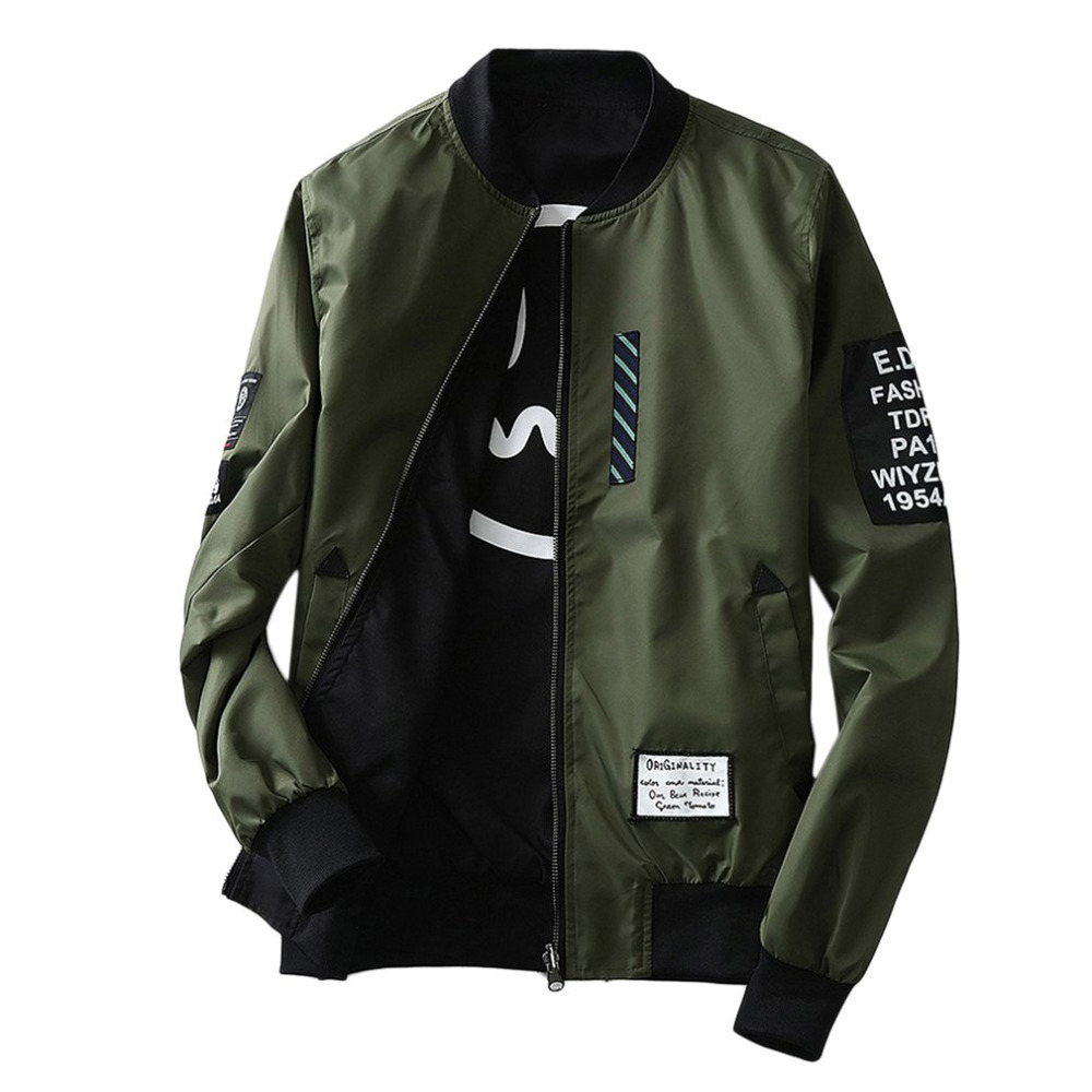New 2017 Bomber Jackets Men's Autumn Winter Fashion Overcoat Army Green/Black Thin Slim Fit Men Wind Breaker Plus Size Coat M-4L