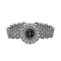 Для женщин Дейзи Стиль проложить марказит черный 925 Серебряные наручные часы, орнамент тайский серебряный Классическая Женская Браслет «По