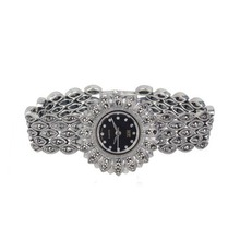 Women Daisy Style Pave Marcasite Black 925 Silver Wrist Watches ornaments Thai classical woman sunflower bracelet watches