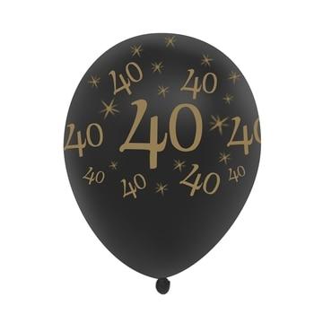 40th Birthday Balloon Black 10 Pcs