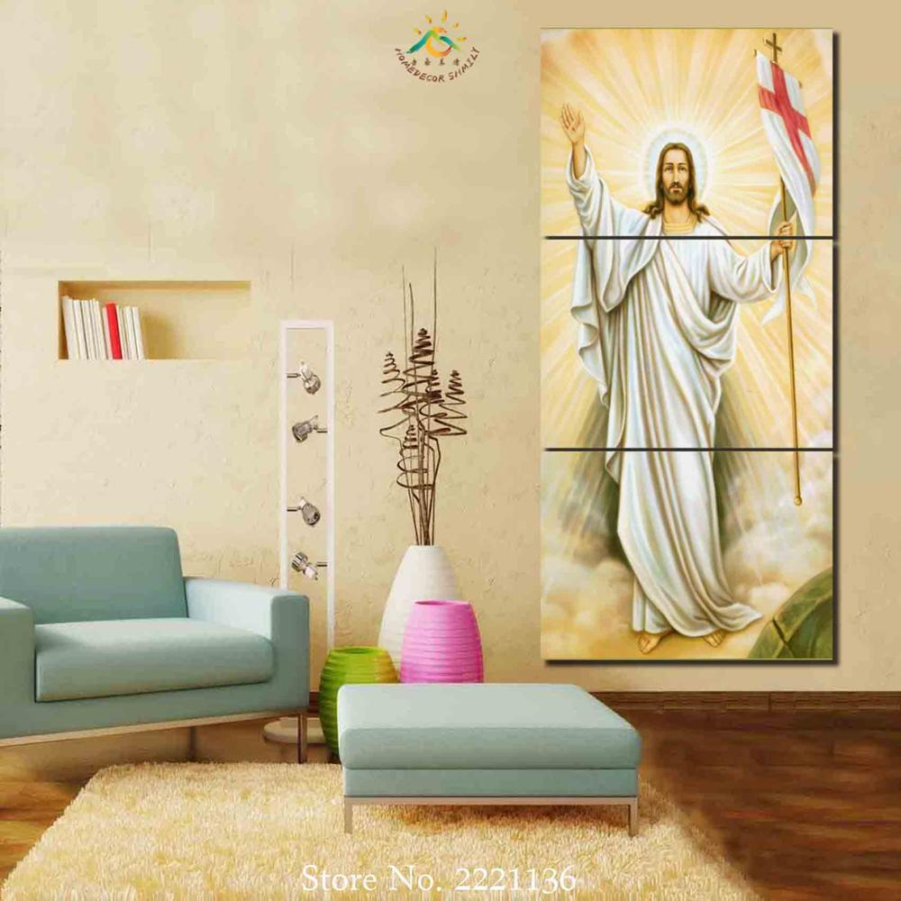 3 Pieces Jesus Religion Poster Modern Wall Art Canvas Printed ...