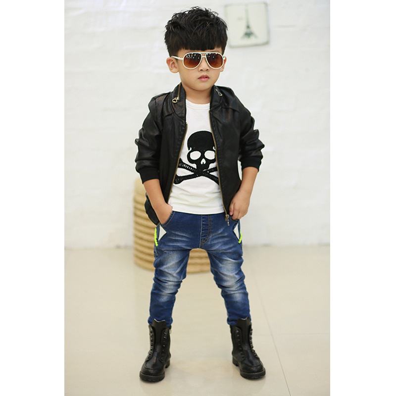 New 2014 Spring Fashion Boys Black Faux Leather Jackets Coat Childrens Brand Handsome Motorcycle PU Kid Outwear In Coats From