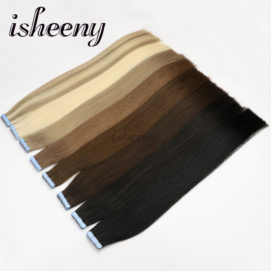 """Isheeny Tape In Human Hair Premium Remy Quality 16"""" 18"""" 22"""" Adhesives Seamless Double Drawn Hair On Glue Tape 20pcs"""