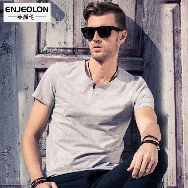 Enjeolon marca manga corta camiseta hombre algodón camiseta hombre o cuello camiseta hombre 10 color sólido casual camisetas masculinas T1531