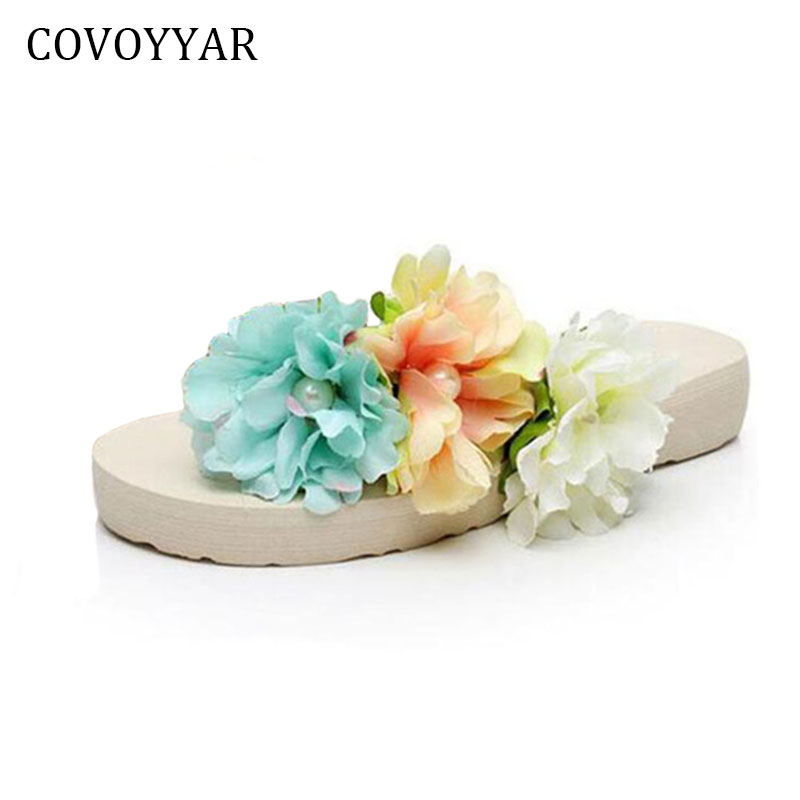 2018 Bohemia Flowers Ladies Flip Flops Beach Slippers Platform Women Sandals Slip On Summer Women Shoes Big Size 35~42 WSS530 women slippers summer beach shoes rivets flip flops women slippers sexy platform sandals women s non slip shoes plus size 36 42