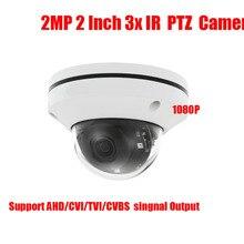 Envío libre 2 pulgadas 4en1 CVBS CVI TVI 2MP PTZ AHD cámara 1080 p Zoom Óptico de 3x Iris Automático de Visión Nocturna IR 20 m