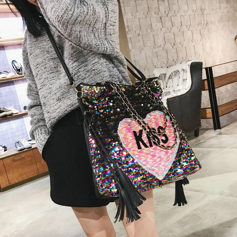 a5e58d49f8 Rdywbu Glitter Sequins Chain Tote Shoulder Bag Women Laser KISS Letters  Embroidery Crossbody Bag Heart Tassels Travel Bag B177