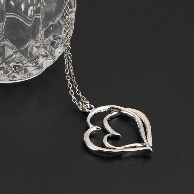 Silver Plated Rhinestone Heart Pendant Necklace