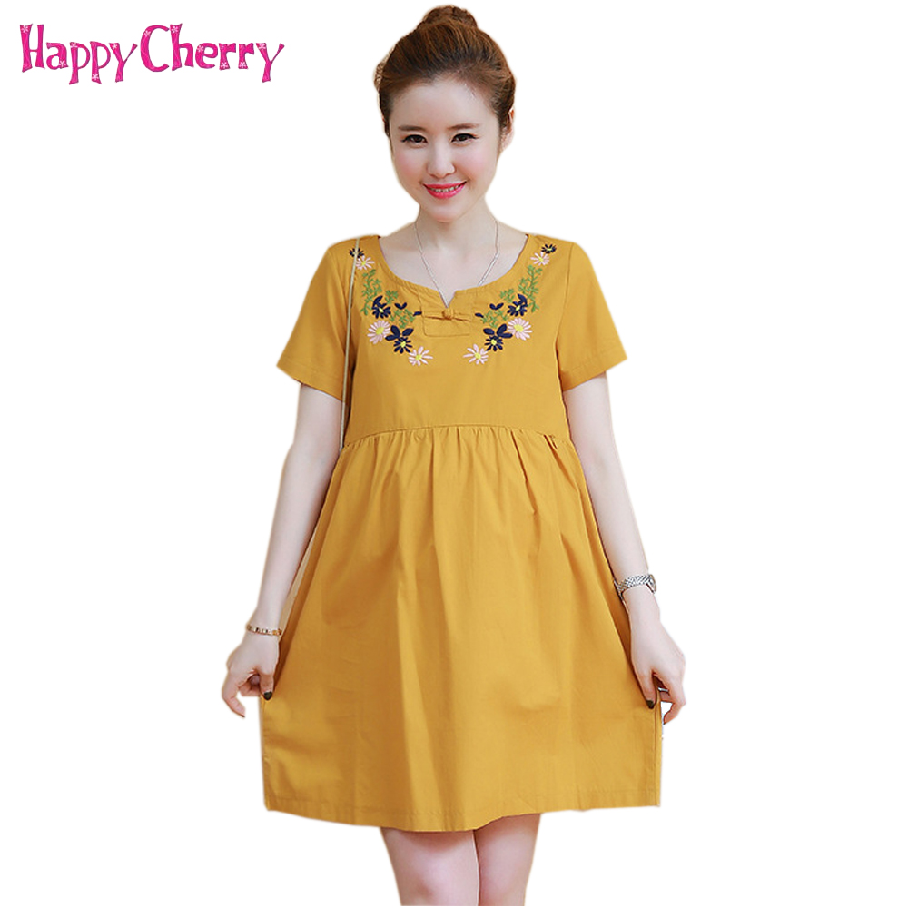 New Pregnancy Dress Office Lady Maternity Clothing Retro Bohemia Maternity Dresses Flower Embroidery Clothes for Pregnant Women