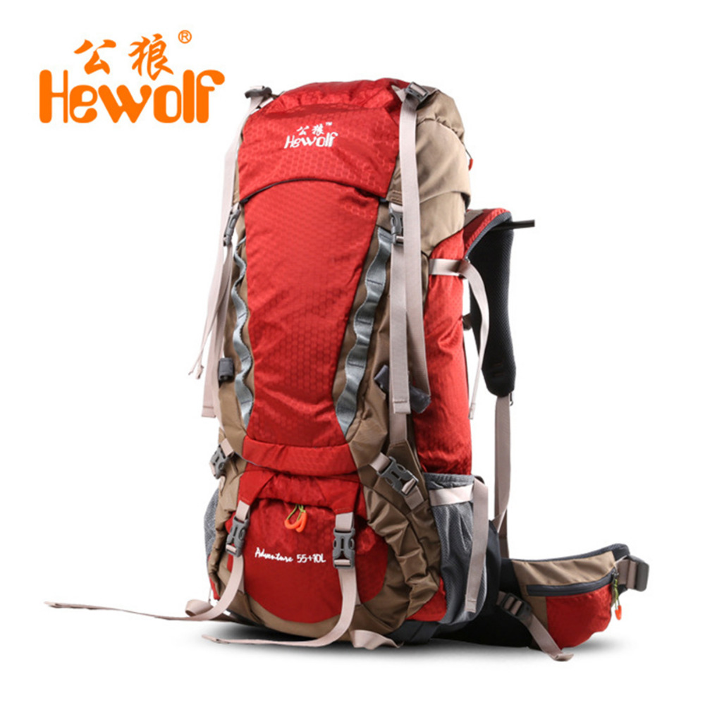 Hewolf 65L hiking backpacks climbing Rucksack shoulder bags Mountaineering Climbing Equipment Unisex Backpack for Outdoor Sports