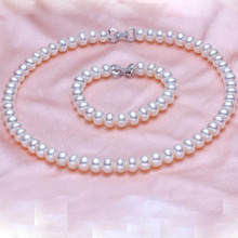 2017 Fashion Women's Fine 8-9mm Necklace/Bracelet Jewelry Set White S925 Silver SterlingButton Fashwater Pearl Jewelry