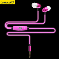 Metal Switch Control Light Glowing In Ear Earphone Luminous Earphone Glow In Dark Sport Earphones Headset
