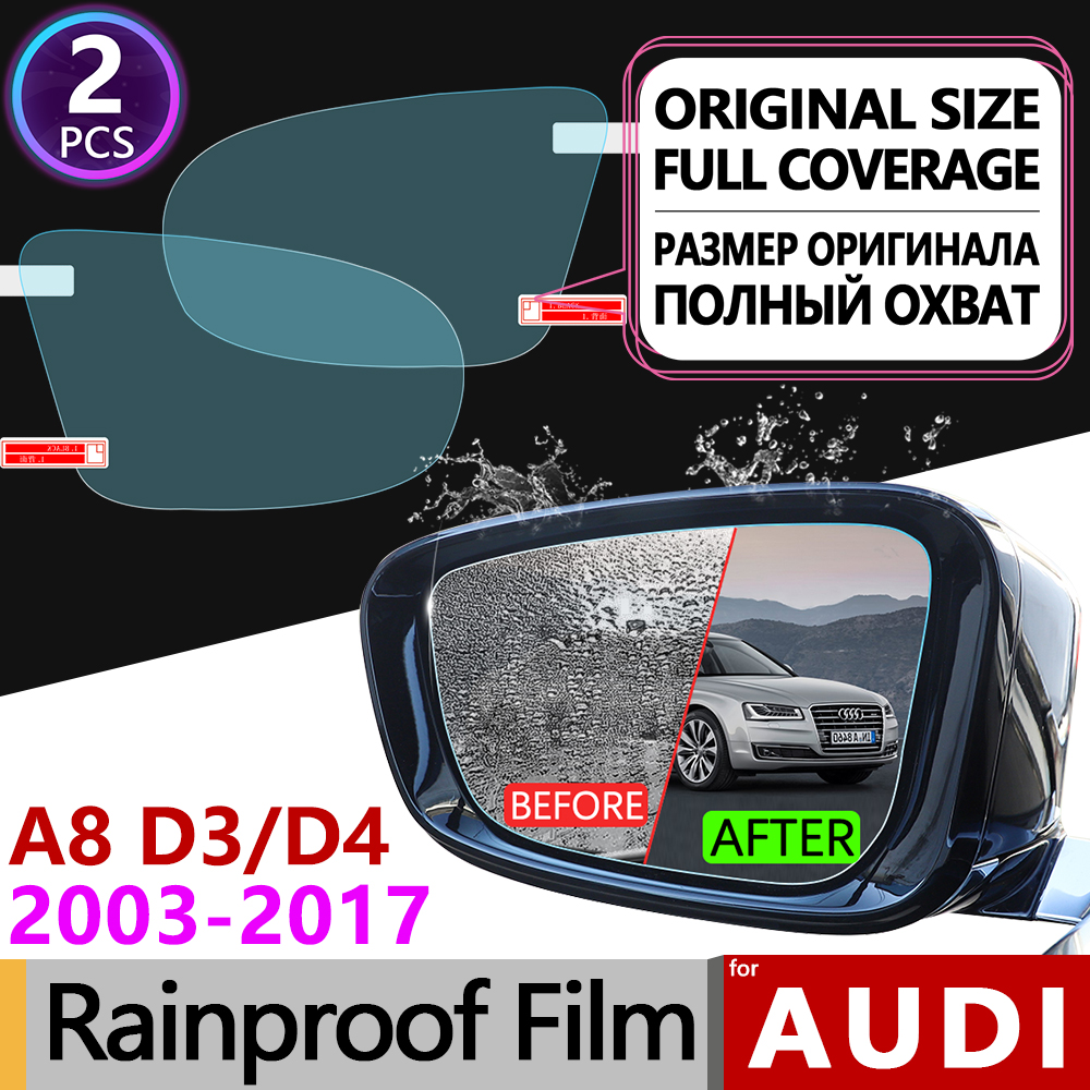 2Pcs for <font><b>Audi</b></font> <font><b>A8</b></font> <font><b>D3</b></font> D4 2003 - 2017 <font><b>4E</b></font> 4H Full Cover Anti Fog Film Rearview Mirror Rainproof Foils Clear Films Accessories S8 A8L image