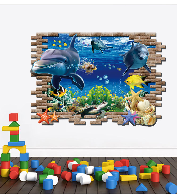 Aliexpress.com : Buy Sea Aquarium Dolphin 3D Wall Stickers Creative Wall  Poster DIY Animal Home Decoration Accessories For Kids Rooms Kindergarten  From ... Part 76