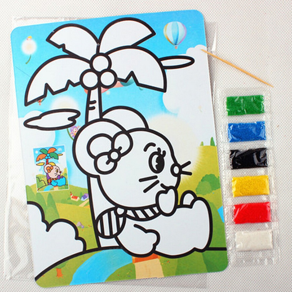 NEW 15cm * 20.5cm Educational Kid Scratch Drawing Kid Sand Painting Picture Children Toy DIY Learning Toys For Kids