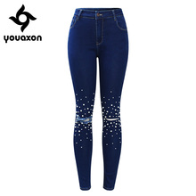 2180 Youaxon Ladies High Waist Ripped Jeans With Beads s Blue Stretchy Denim Pants