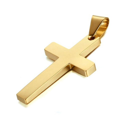 New Cross Necklaces & Pendants For Men Stainless Steel Gold Colour Male Pendant Necklaces Prayer Jewelry Friend Gift Lahore