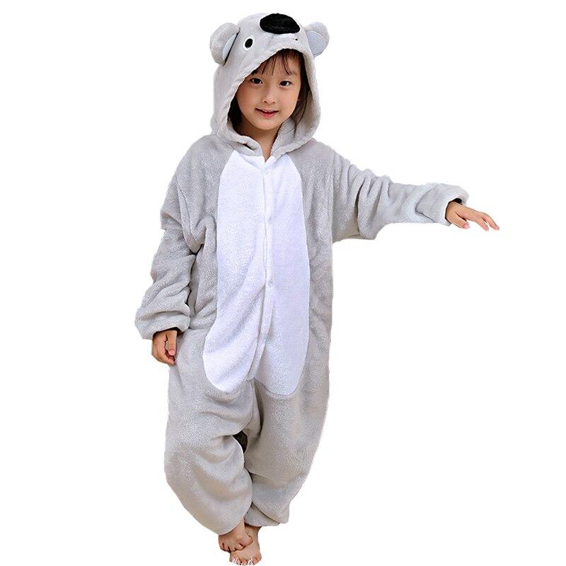 882569ac64769 Attractive Koala Kigurumi Children Onesies Cartoon Kids Flannel Pajamas Baby  One piece Sleepwear Cosplay For Halloween Jumpsuit