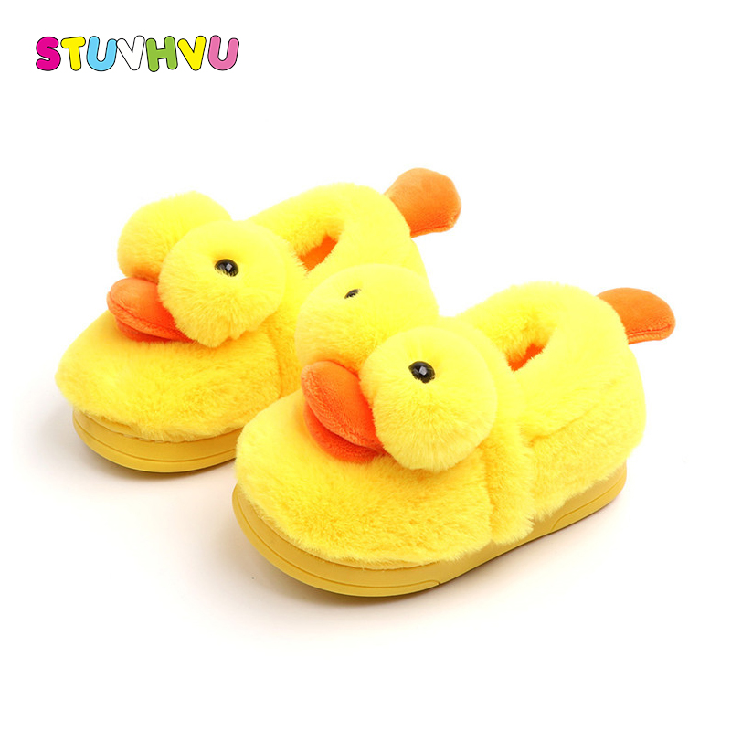 Kids shoes indoor slippers kids cotton shoes cute yellow duck slippers winter warm soft non-slip baby boys girls home shoes giraffe animal pattern kids slippers home slippers children for girls house indoor shoes warm winter bedroom baby boys shoes