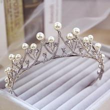 Nowa lśniąca kryształowa perłowa Tiara korona ślubne akcesoria do włosów na ślub Quinceanera tiary i korony korowód Diamante Tiara