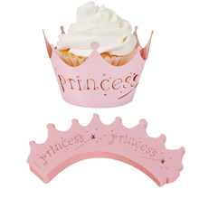 10pcs/Pack Pink Cutout Princess Paper Cup Birthday Party Cake Lace Paper Laser Cut Celebration Decor Wrapper Wraps Cupcake Case(China)