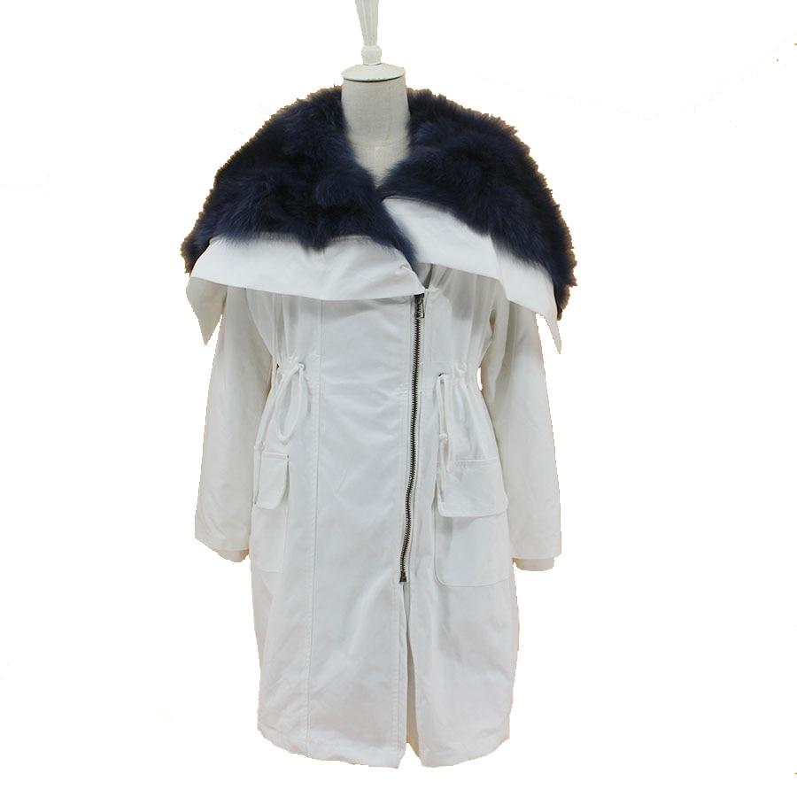 Femmes nouveau naturel fourrure parkas manteaux 2018 réel fourrure hiver veste vêtements grand col chine au détail en gros mince chaud outwear