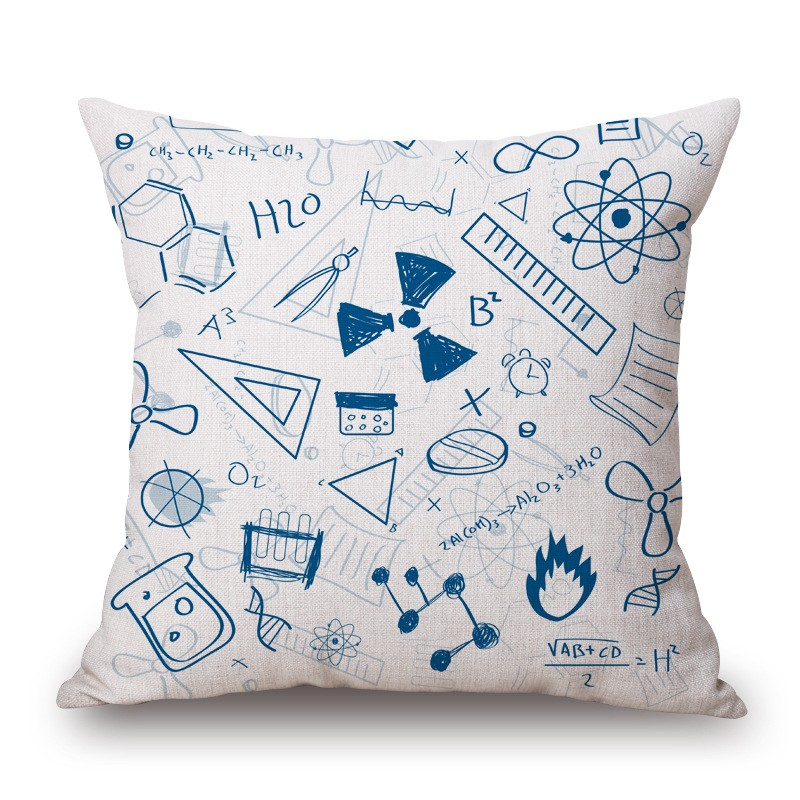 18'' Square Math Formula Cushion covers Science Chemistry Throw Pillow Covers Decorative Pillow Cases Customized Drop Shipping 13