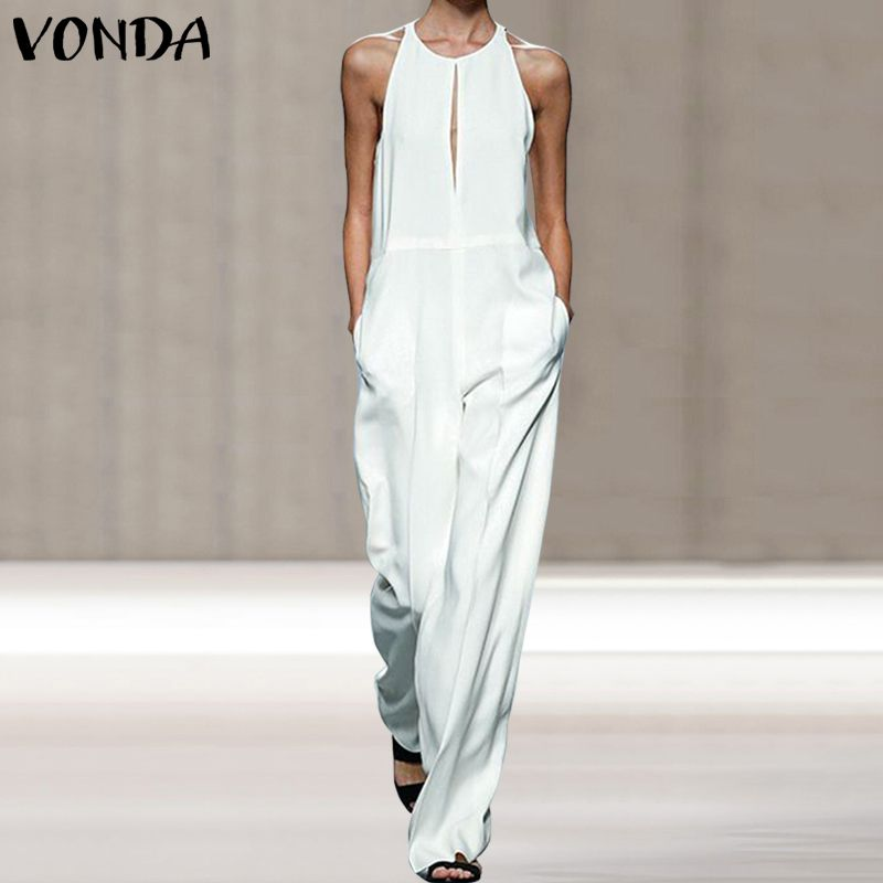VONDA Women Sleeveless Casual Rompers Summer Fashion Overalls Loose   Jumpsuit   Solid Color Long Pants Plus Size Women's Trousers