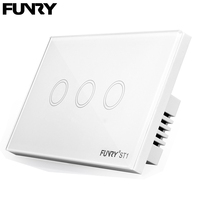 Funry Sensor Touch Switch ST1 3Gang US Standard Glass Touch Switch 110 240V Light Sensor Waterproof