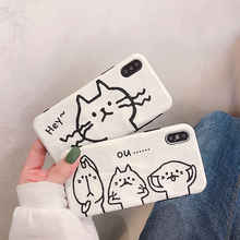 VZD Cartoon Cute Animal Cat Phone Case For iPhone XS Max XR 6 6S 7 8 Plus X Soft TPU Lovely Back Cover White Cases