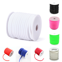 Approx 10m/roll 5mm Hollow Silicone Rubber Cord Tread Wrapped Around White Plastic Spool with 3mm Hole for DIY Necklace Bracelet