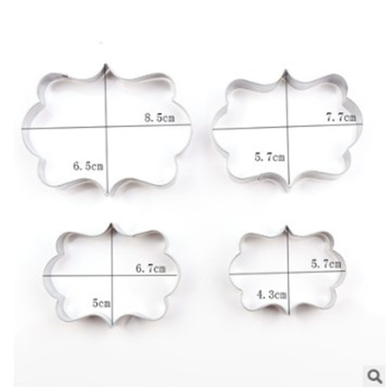 4YANG 4pcs set Blessing Wedding Frame Stainless Steel Cookie Cutters 3D Biscuit Sugarcraft Kitchen Mould Baking Pastry Tools in Baking Pastry Tools from Home Garden