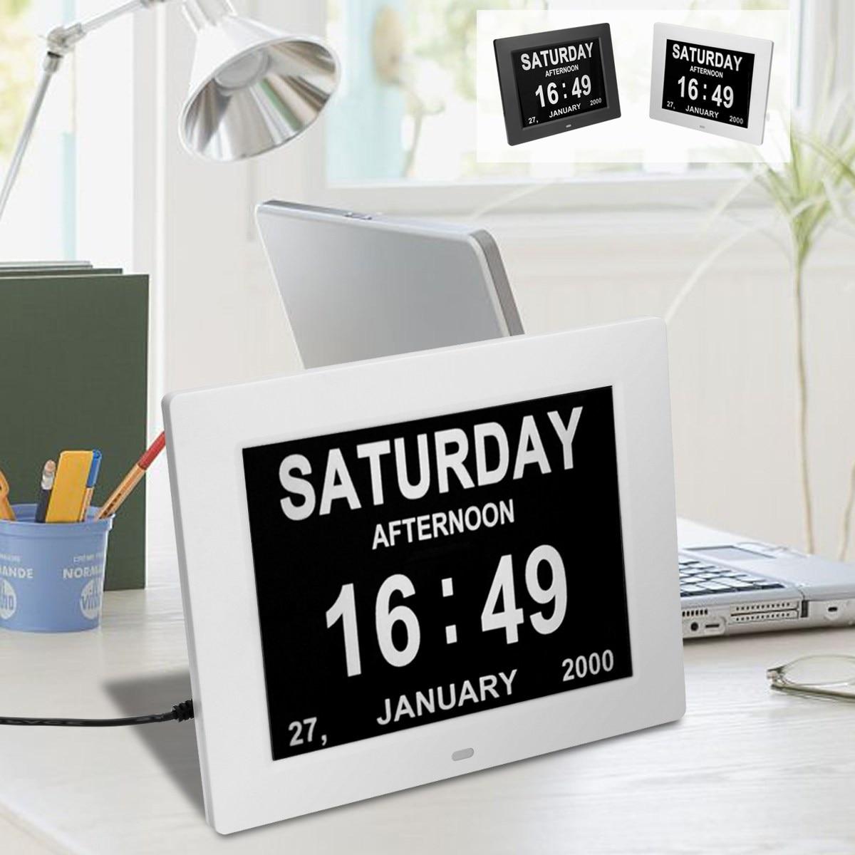 8\'\' Digital Alarm Clock Wall Calendar Clock LCD Display Time Day ...