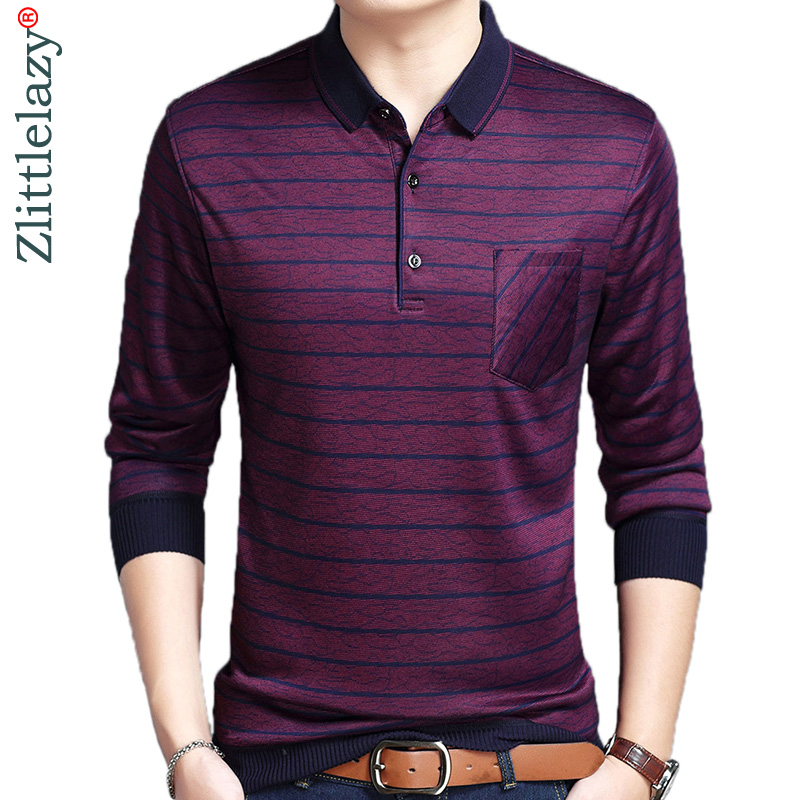2018 designer pocket brand long sleeve slim fit   polo   shirt men casual jersey thick striped mens   polos   winter warm tee shirt 4298