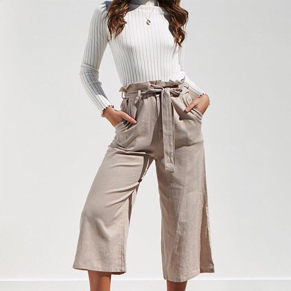 Casual Cotton Linen High Waist Wide Leg Pants 42