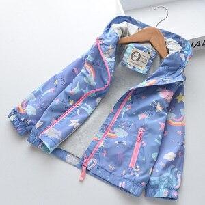 Image 2 - New Spring Girls Jackets And Coats Hooded Unicorn Rainbow Pattern Kids Windbreaker Jackets Autumn Jackets For Girl Children Coat
