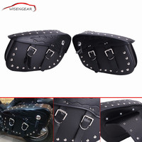 2x Brand Universal Black Big Size Flame PU Leather Saddle Bags Saddlebags Pouch For Harley Rider