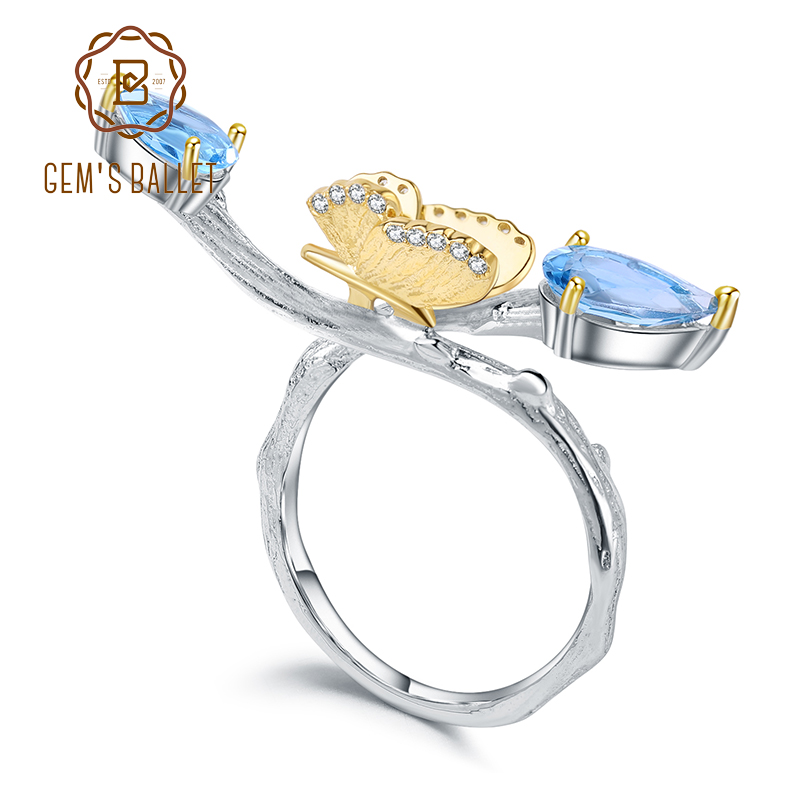 GEMS BALLET 925 Sterling Silver Handmade Adjustable Ring 2.42Ct  Natural Swiss Blue Topaz Butterfly on Branch Rings for WomenRings   -