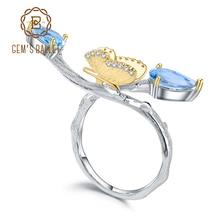 GEMS BALLETT 925 Sterling Silber Handgemachte Einstellbare Ring 2,42 Ct Natürliche Swiss Blue Topas Schmetterling auf Zweig Ringe für Frauen