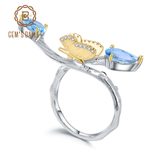 Gems BALLET 925 스털링 실버 수제 조절 링 2.42Ct 천연 스위스 블루 토파즈 나비 여성용 브랜치 링