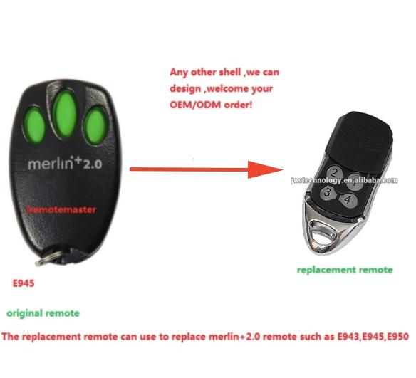 Aftermarket Merlin+2.0 remote E945,E950,E943,MRC950EVO, MR650EVO ,MR850EVO, MT3850EVO replacement remote top quality 550t001m1r3e0l d sub backshells split bkshll top rear mt str mr li