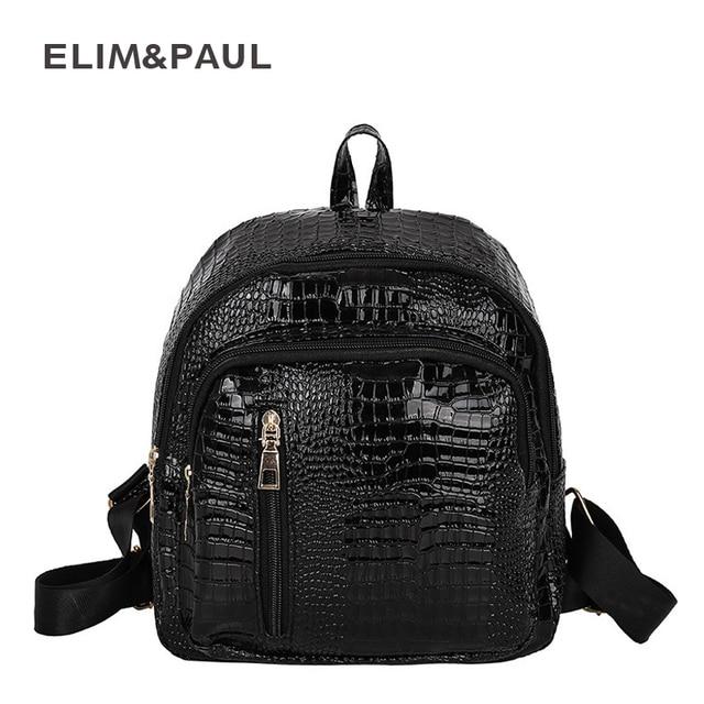 7b8273dfee ELIM PAUL Feminine Backpack Female Alligator Patent Leather Backpacks for  Girls Teenagers Women Backpack Schoolbag Mochila